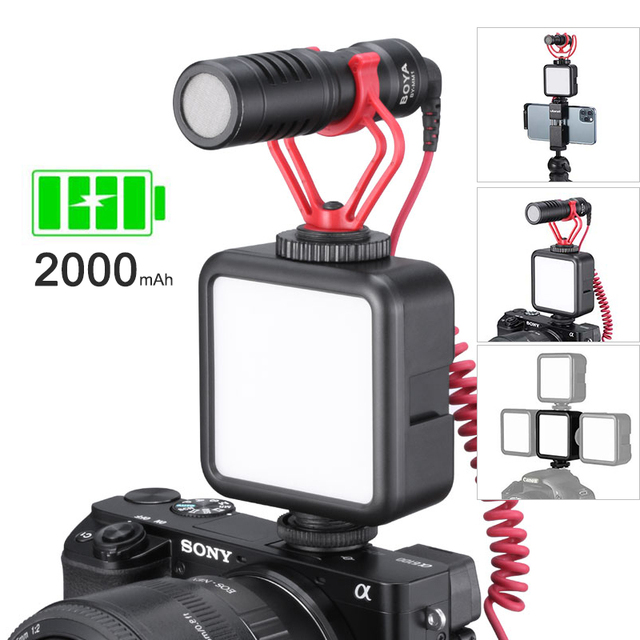 Ulanzi מיני נייד LED וידאו אור קר משולש נעל נטענת Vlog למלא אור צילום תאורה חצובה ערכת CRI95 +