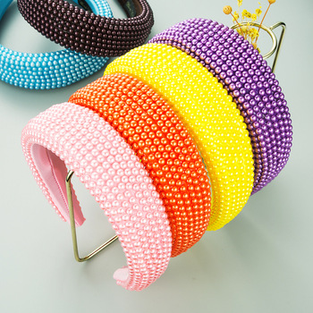 Wide Brimmed Thicken Sponge Hair Hoop Full Pearl Padded Head Hoop Candy Color Baroque Bling Headband Women Hair Accessories image