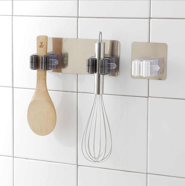Mop uchwyt na miotłę naścienny Mop domowy klej do przechowywania wieszak ze stali nierdzewnej haczyki kuchenne Organizer łazienkowy