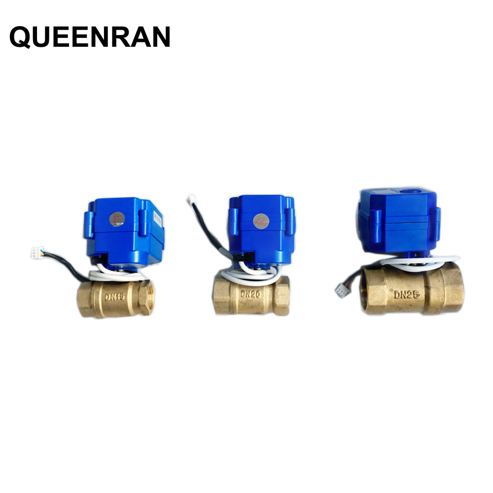 "1pc 1/2""(DN15) 3/4""(DN20) 1""(DN25) DC12V BSP Brass Motorized Ball Valve 3PIN Wires for WLD-805 WLD-806 Water leakage Alarm"