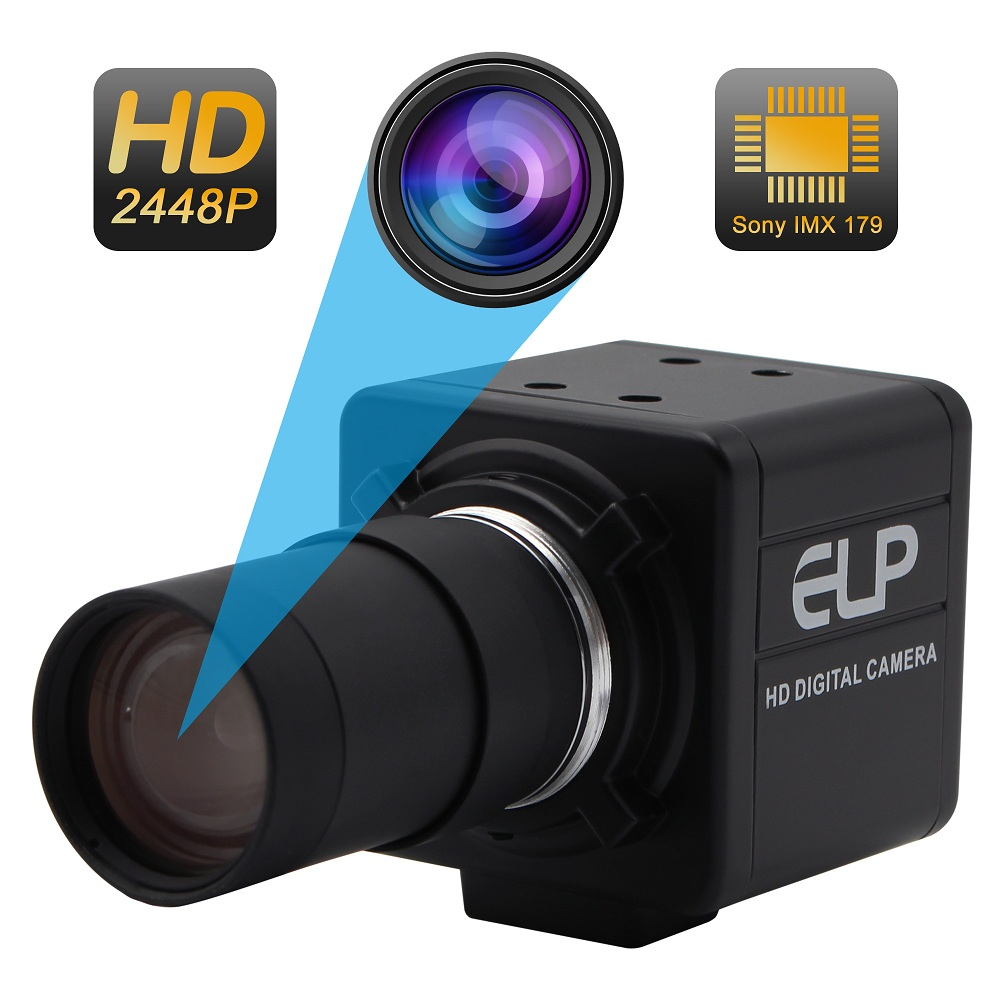 ELP 8MP CCTV Security Camera High Resolution <font><b>SONY</b></font> <font><b>IMX179</b></font> 5-50mm Varifocal Lens Industrial USB Camera for Windows Linux Android image