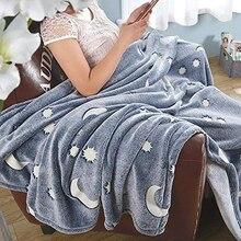 Светящееся одеяло для отдыха на природе, ночное светящееся одеяло, Рождественский подарок на день рождения, супер мягкое пушистое плюшевое шерстяное украшение, звезды, луна