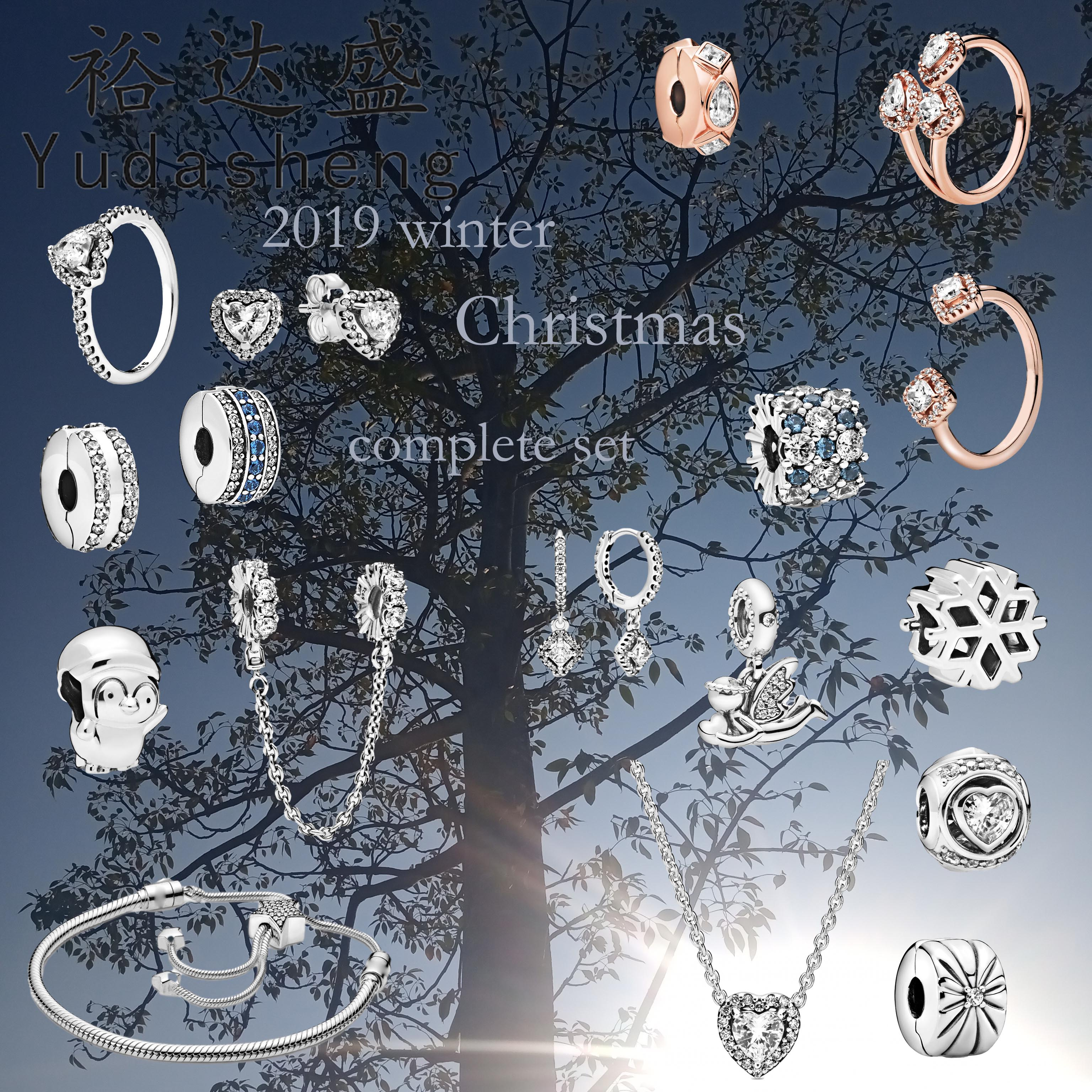 925 Silver Jewelry 2019 Winter Christmas Geometric Shapes Ring Round Earrings Shooting Star Necklace Angel Wings Dangle Charm