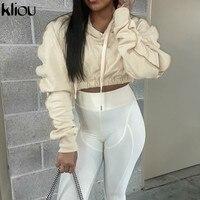 Kliou Solide Hoodie Sweatshirt Frauen Herbst Langarm Casual Streetwear Kordelzug Schlank Crop Top Weibliche Mode Outfits Heißer