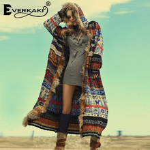 Everkaki Boho Fur Thick Coat Jackets Women Winter Chic Ladies Loose Vintage Bohe