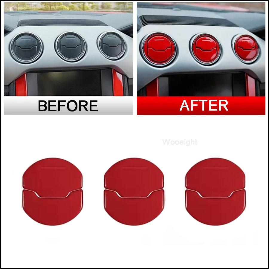 Red Aluminum Alloy 3Pcs Air Condition Switch Knob Decoration Cover Trim for Alfa Romeo Giulietta Stelvio 2017+