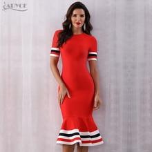 Adyce 2020 뉴 여름 레드 붕대 드레스 여성 섹시한 짧은 소매 인어 클럽 드레스 Vestido 활주로 연예인 이브닝 드레스