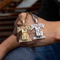 Hip Hop aaa sześcienne cyrkonie Bling Ice Out DEATHROW Death Row Records wisiorki naszyjniki dla mężczyzn biżuteria raper Gold Silver