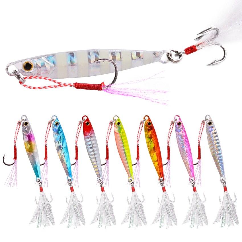 8Pcs Outdoor Hunting Fishing Glow Jigs 7g 10g 15g 20g Shore Casting Jigging Lead Fish Sea Bass Decoys Metal Bait Artificial Lure|Fishing Lures| - AliExpress