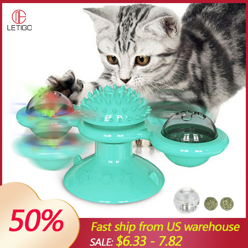 Windmill Toys Pet Toys Interactive Puzzle Training Turntable Windmill Ball Whirling Toys For Cats Kitten Play Game Cat Supplies