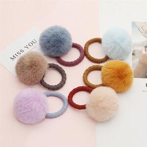 10 Pcs/set Colorful Furball Hair Bands Children Girls Cute Elastic Hair Ties Ponytail Holder Hair Accessories Fashion Headband