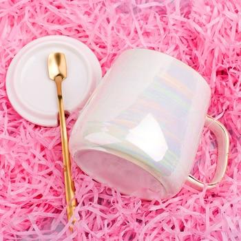Creative Ceramic Coffee Mug Set Cute Stylish Student Breakfast Coffee Cup Gold Spoon Koffie Mok Friend Gift Box BA50MK