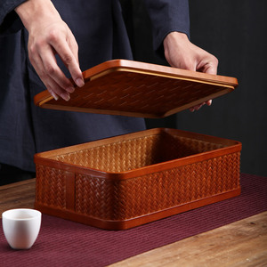 Image 3 - Tea set Storage Box Handmade Bamboo Light Brown Portable Handheld Large Capacity Candy Snacks Storage Basket Household Items