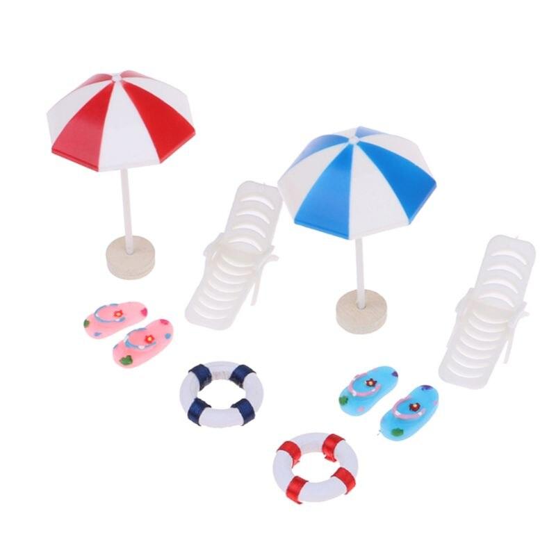 Beach Sun Umbrella Boat Shell Kits Miniature Landscape Fairy 1/12 Dollhouse Garden Figurine Miniature Ornament Decor