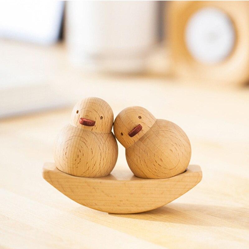 En bois une paire de jaune canard Balance balançoire ornement/amoureux de mariage décoration cadeaux/maison Mini Kawaii décompression oiseaux décor