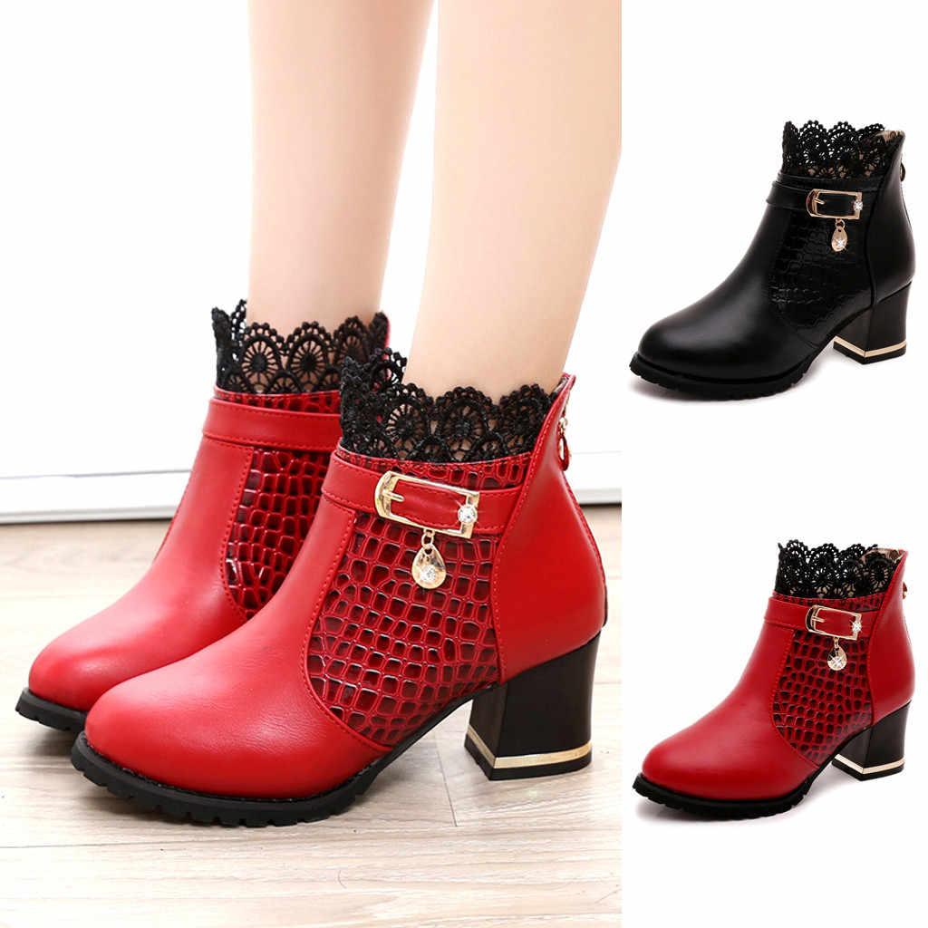 ผู้หญิงสุภาพสตรีรองเท้าฤดูใบไม้ร่วงฤดูหนาวรองเท้ารอบ Toe Vintage PU หนังข้อเท้าลูกไม้สั้นหญิงสบายรองเท้า M50 #