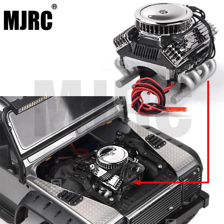 Rc Car F82 V8 Simulate Engine Motor Cooling Fans Radiator For 1/10 Rc Crawler Traxxas Trx-4 Axial Scx10 90046 Redcat Gen8 G500