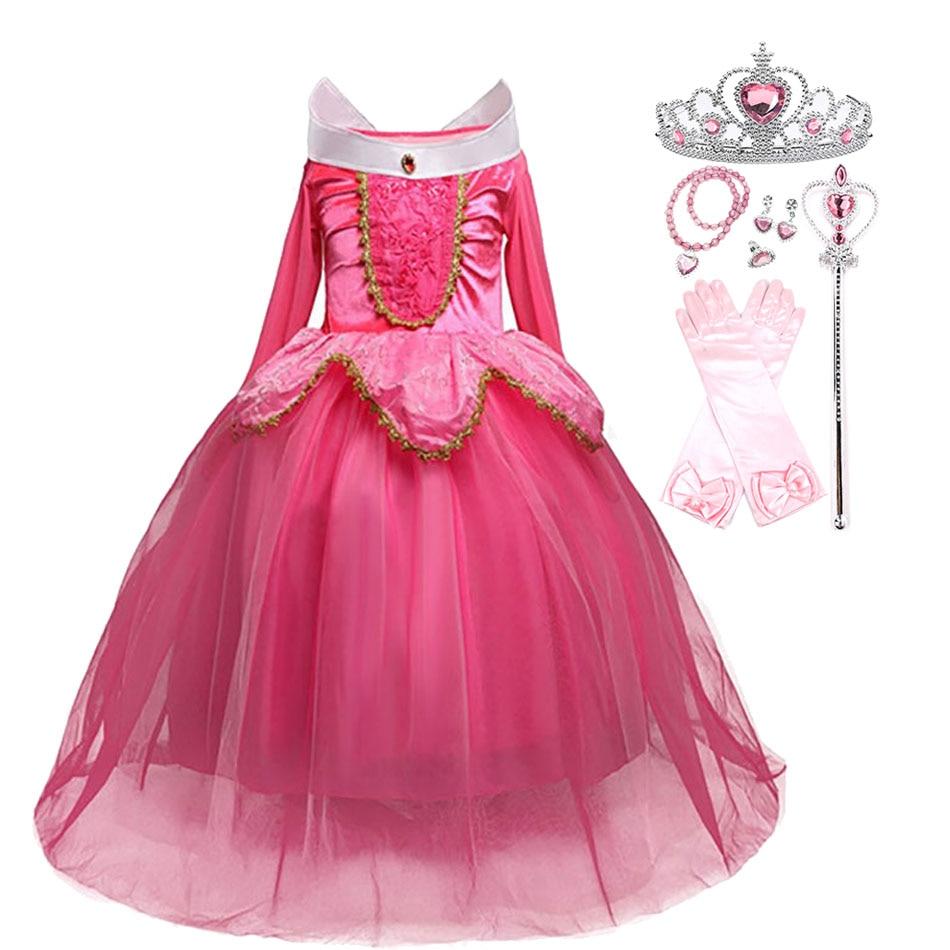 Платье Спящей красавицы для девочек; Розовый и синий костюм Авроры с парик с короной; Вечерние платья принцессы для дня рождения