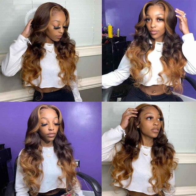 Pelucas de cabello humano rubio miel de encaje completo pelucas 360 Frontal largo cuerpo ondulado Remy Ombre marrón profundo parte 13x6 peluca con malla Frontal