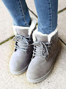 Winter Boots Lace-Up Suede Female Women Ankle Classic Mujer High-Quality Warm Fur Plush