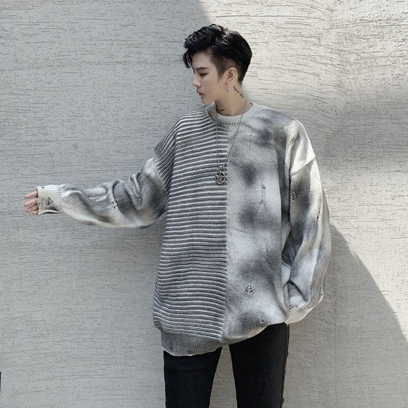 Men Vintage Half Splice Loose Casual Knitted Hole Pullover Sweater Male Women Streetwear Hip Hop Punk Couple Sweater