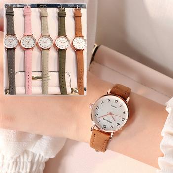 Zegarki damskie prosty Vintage zegarek z małą tarczą słodki skórzany pasek Outdoor Sports Wrist Clock Gift tanie i dobre opinie CN (pochodzenie) Nie wodoodporne Stop Hook buckle Moda casual Cyfrowy 30mm Skórzane B192-B196 ROUND 14mm Szkło 21cminch