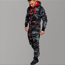 Camouflage Fleece Warm Tracksuit Men Zipper Fashion Workout Black Jumpsuits Tracksuits Hoodies Winter Hip Hop Clothing
