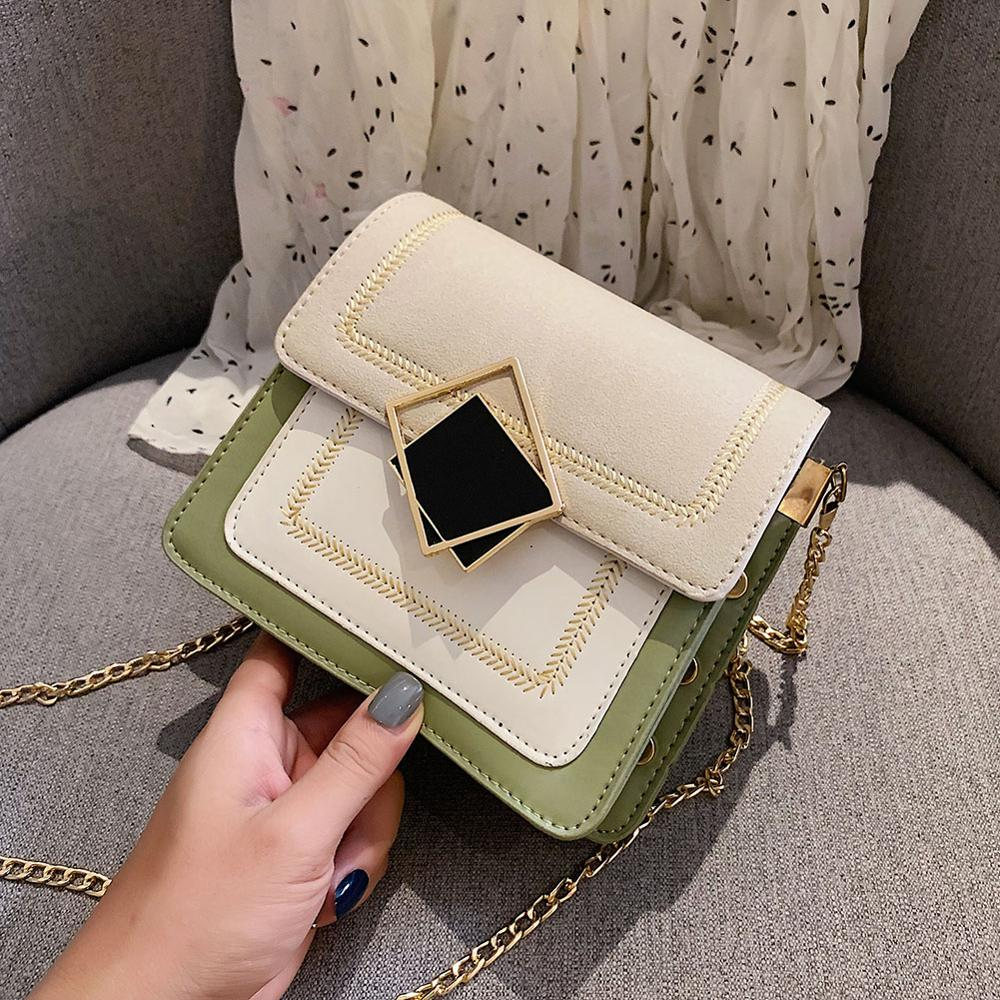 Women Shoulder Bag Lady Fashion Special Lock Design Hit Color Messenger Bags Female Flap PU Leather Chain Square Crossbody Bags