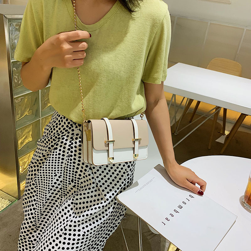 Image 2 - The new girl 2019 new bead chain double belt linear ramp Pack Single shoulder bag stylish and small parties.-in Top-Handle Bags from Luggage & Bags