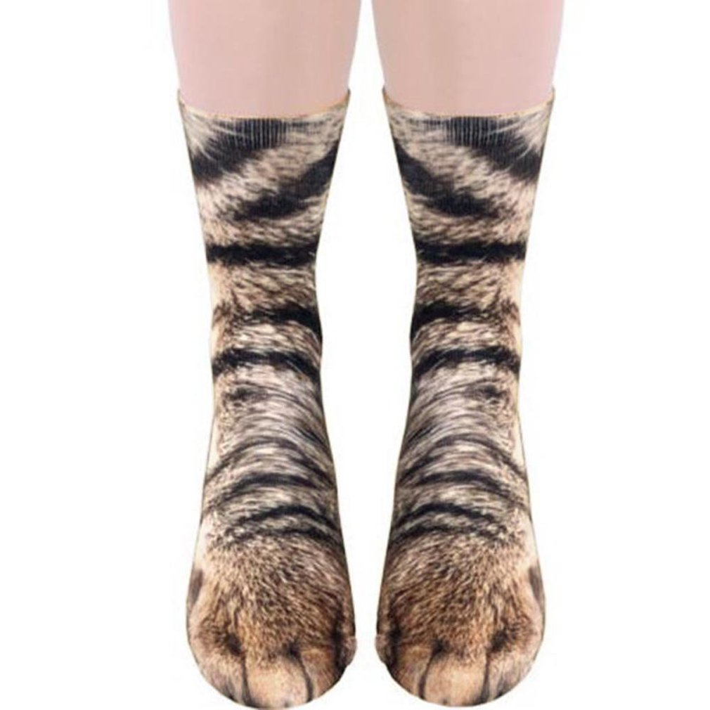 3D Print <font><b>Animal</b></font> Foot Hoof Paw Feet Crew <font><b>Socks</b></font> Adult Digital Simulation <font><b>Socks</b></font> <font><b>Unisex</b></font> Tiger Dog Cat <font><b>Sock</b></font> image