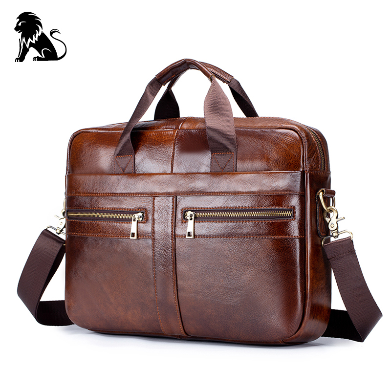 Business Genuine Leather Men's Briefcase Bag Vintage Cow Leather Computer Bag Messenger Bags Man Shoulder Bag Postman Male