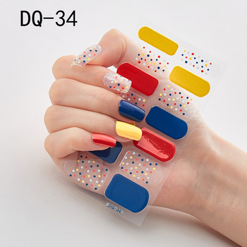 14pcs/sheet Glitter Gradient Color Nail Stickers Nail Wraps Full Cover Nail Polish Sticker DIY Self-Adhesive Nail Art Decoration 73