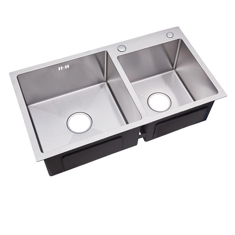 Éviers de cuisine en acier inoxydable Double bol en argent brossé évier avec évier panier au-dessus du comptoir évier épaisseur 3mm