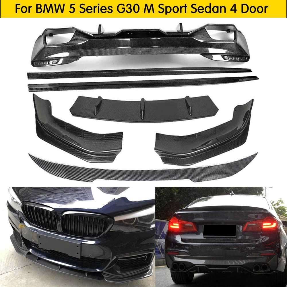Para G30 Bodykit De Fibra De Carbono Frente Lip Difusor Traseiro Saia Lateral para BMW G30 530 540 Auto Racing Car Styling body kit