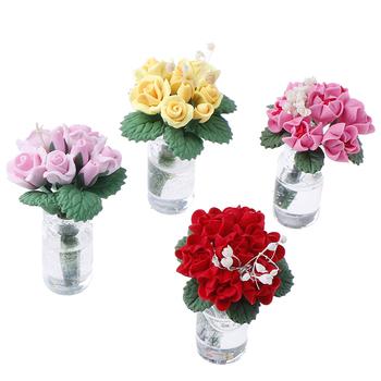 1 12 domek dla lalek miniaturowe kwiaty wróżka ozdoba ogrodowa Mini roślina doniczkowa kwiaty doniczka domek dla lalek Bonsai Model zabawka dla dzieci tanie i dobre opinie MYPANDA 2-4 lat Z tworzywa sztucznego None 3 7 * 3 * 3cm 1 5 * 1 5 * 1 2inch Dolls Garden Accessories Unisex Glass + Clay