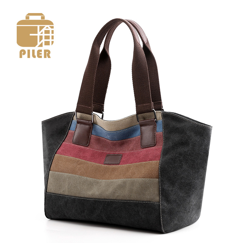 Piler Brand Shoulder Bag Canvas Ladies Designer Trapeze Woman Striped Vintage Crossbody Messenger Bags