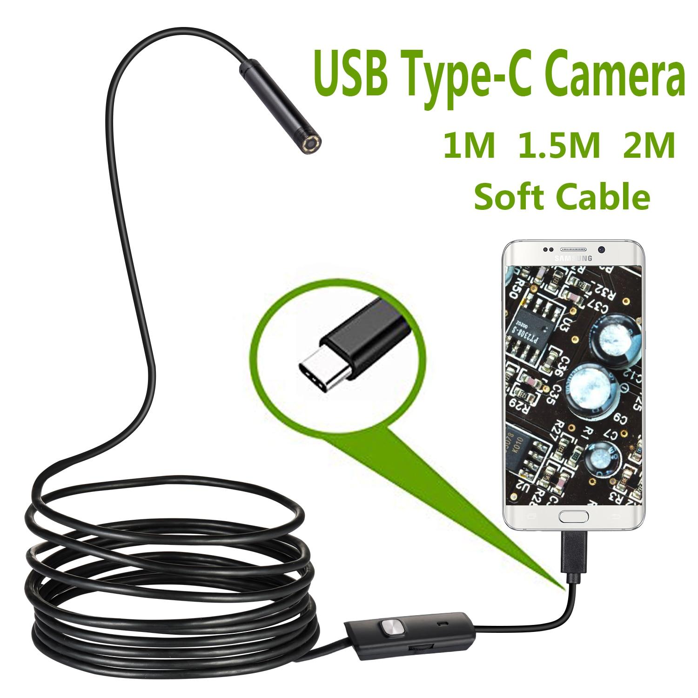 USB กล้องตรวจสอบงู IP67 กันน้ำ USB C Borescope Type-C ขอบเขตกล้องสำหรับ Samsung Galaxy S9/S8 google Pixel Nexus 6p