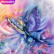 MomoArt Diamond Painting Butterfly Full Square Embroidery Flowers Mosaic Cross Stitch Picture Of Rhinestone