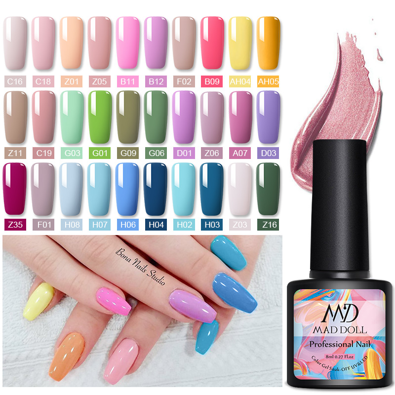MAD DOLL 1 Bottle 8ml Color Nail Gel Spring Series Gel Polish Soak Off LED UV Gel Varnish Nail Art DIY Nail Art Design