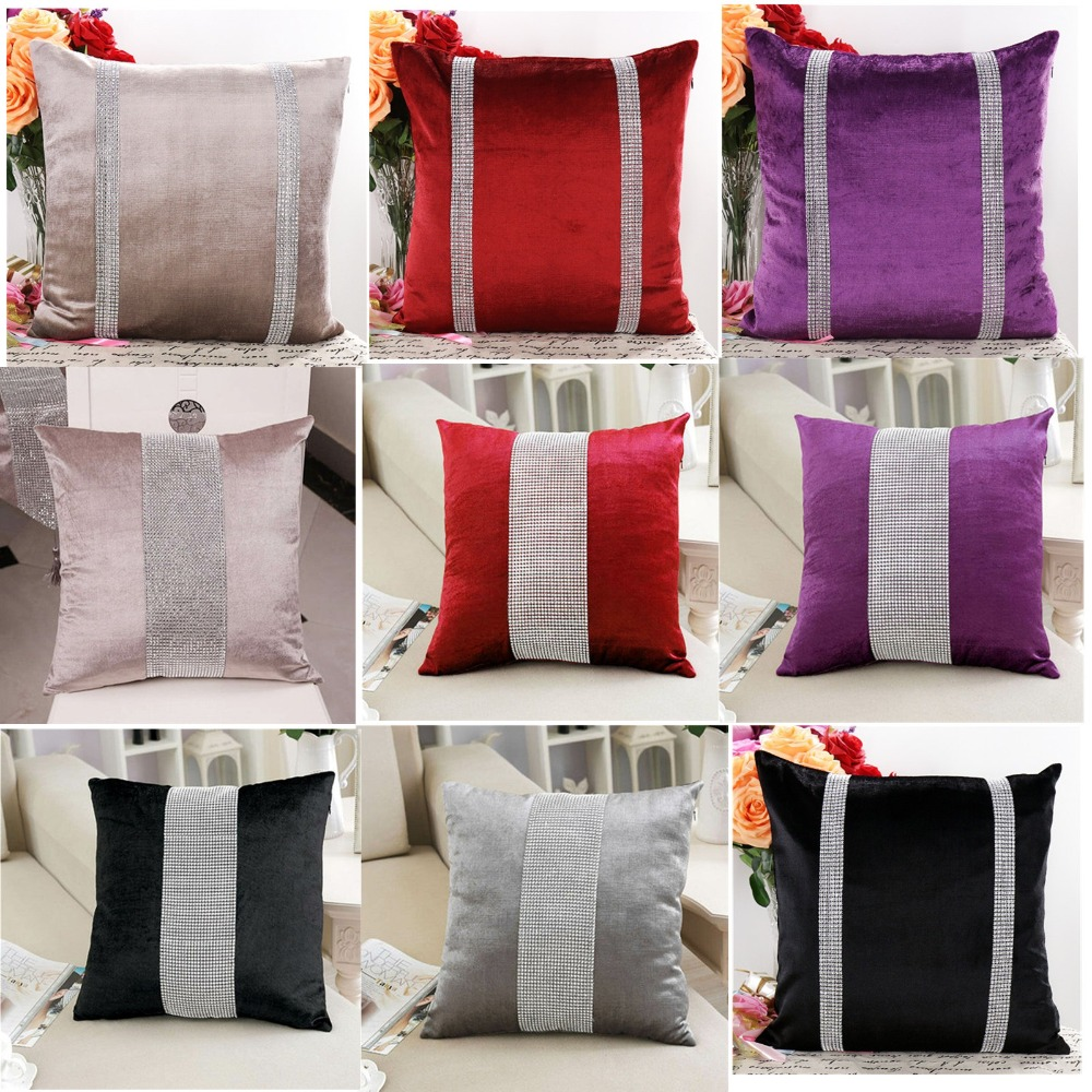45X45cm Luxury Velvet Fabric Diamond Pillow Cover Rhinestone Pillowcases Pillow Decorative Throw Pillow Case