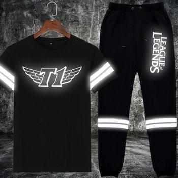 Men's Reflective T Shirts Pants Set LOL Skt T1 IG OMG C9 Team Uniform Suits Male Short Sleeve Tshirt Summer Dress Streetwear
