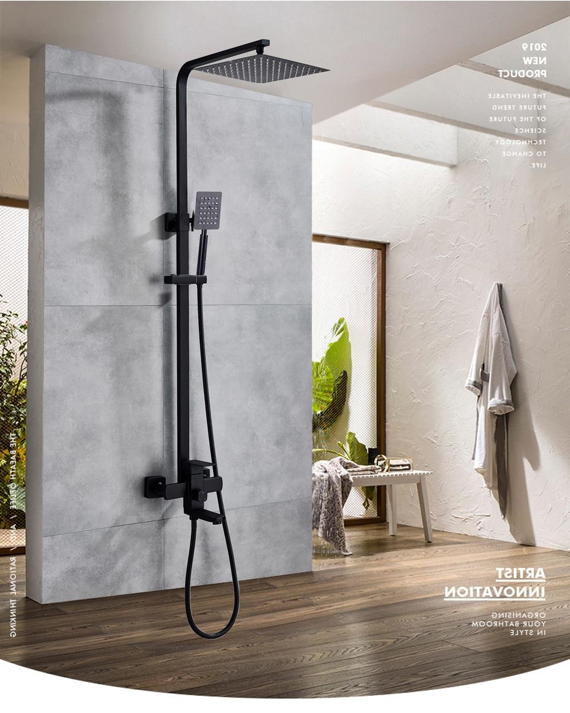 H42aa8f5261c54e9c9bab0e8df157f4b3K POIQIHY Black Bathroom Shower Faucet Set Wall Mount Black 8''Rainfall Shower Head With Handheld Sprayer Bathtub Shower Mixer