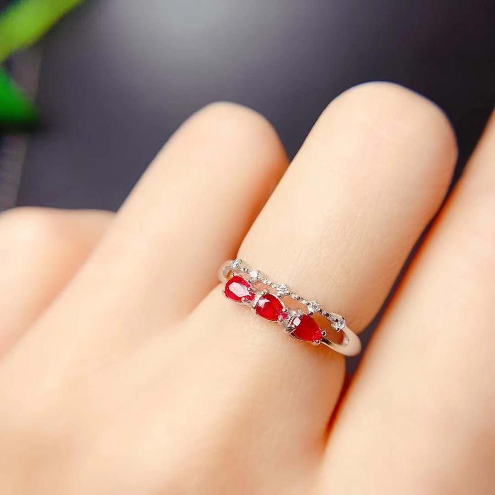 Naturel et réel rubis bague argent 925 femme bague pour charme luxe concepteur rubis bague femmes fine bijoux