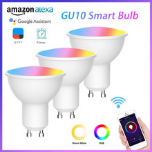 AC85-265V gu10 pode ser escurecido lâmpada led inteligente lâmpada de controle remoto rgb + cw trabalho com alexa google casa inteligente vida