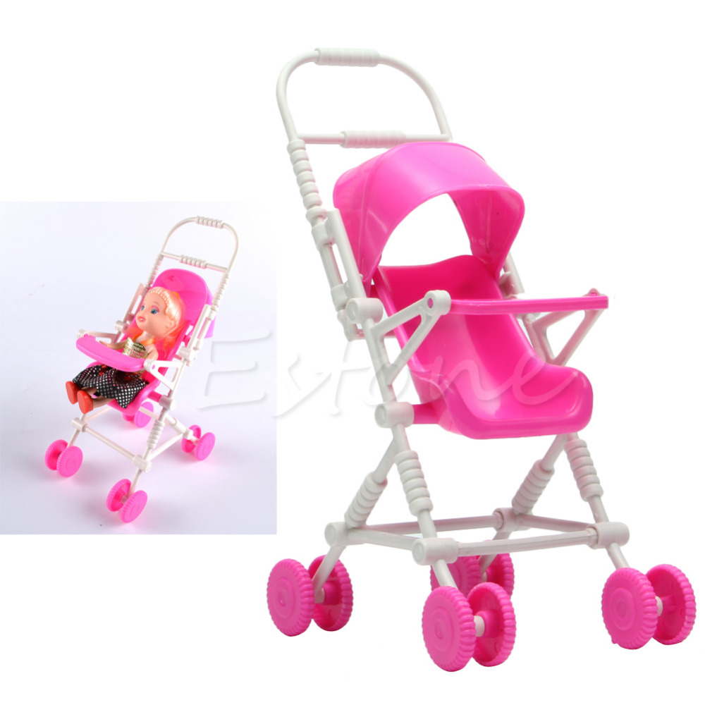 Wholesale 1pc Top Brand Assembly Baby Stroller Trolley Nursery Furniture Toys For Doll Pink High Quality