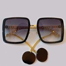 Square Sunglasses Women With Chain Fashion Luxury Brand Clas