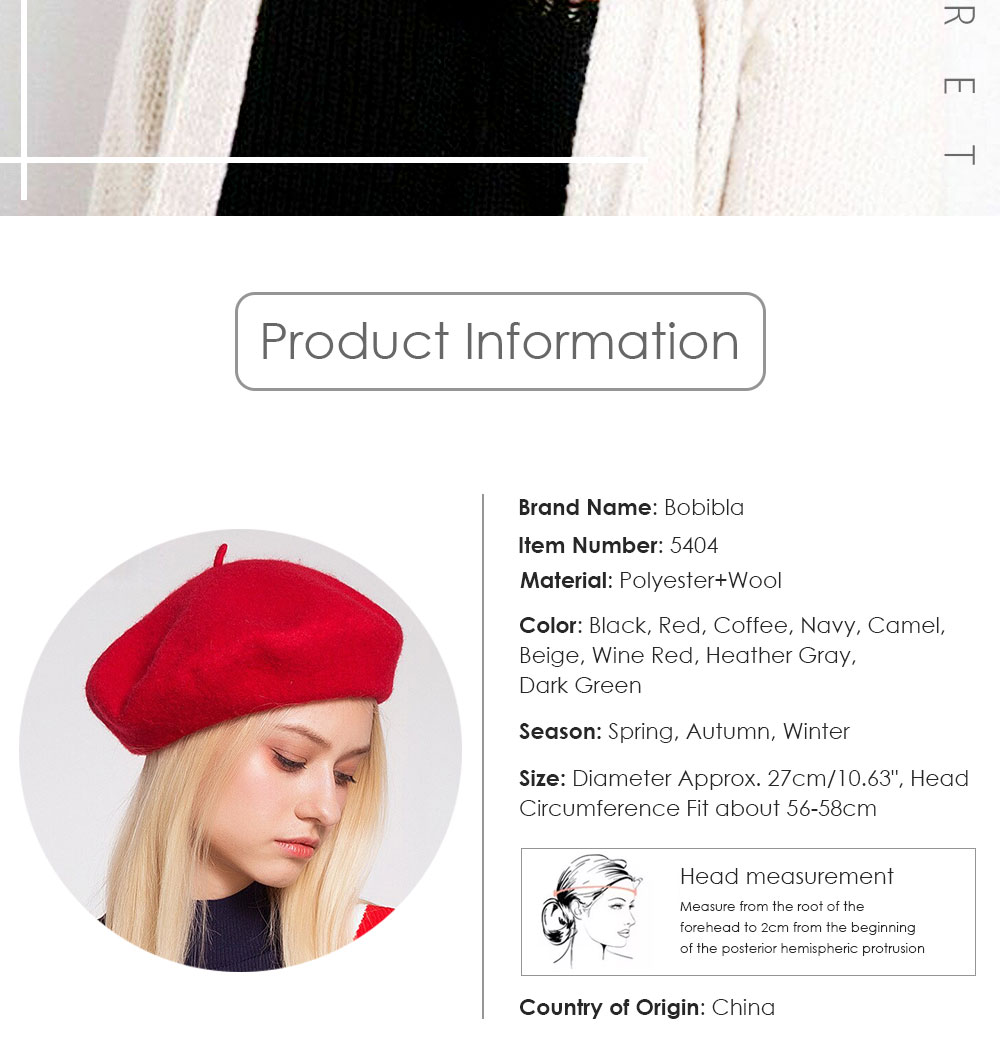 Elegant Lady Women Wool Felt Warm French Classic Beret Beanie Slouch Hat Cap Tam 18