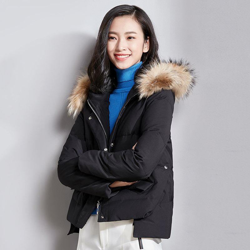 Winter 2020 Women's Down Jacket Short Korean Duck Down Coat Women Raccoon Fur Collar Kurtka Damska VIM17D5075 KJ3527
