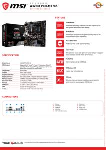 Image 2 - MSI материнская плата A320M PRO M2 V2 системная плата AMD Socket am4 ddr4 memory rams M.2 SATAIII ssd HDMI + VGA + DVI PCI E 3,0X16 материнская плата для рабочего стола 2011