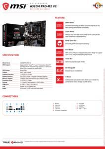 Image 2 - MSI A320M PRO M2 V2 Bo Mạch Chủ AMD Socket AM4 DDR4 Bộ Nhớ RAM M.2 SATAIII SSD HDMI + VGA + DVI PCI E 3.0X16 Mainboard Dành Cho Máy Tính Để Bàn